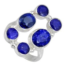 925 sterling silver 8.96cts natural blue sapphire ring jewelry size 7.5 r4457