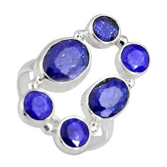 925 sterling silver 9.11cts natural blue sapphire ring jewelry size 8 r4460