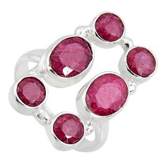7.13cts natural red ruby 925 sterling silver ring jewelry size 7.5 r4473