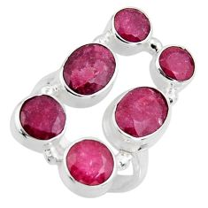 7.28cts natural red ruby 925 sterling silver ring jewelry size 6.5 r4480