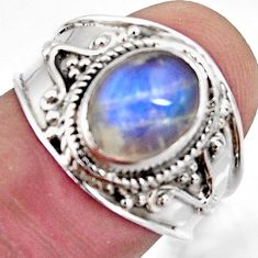 925 silver 3.32cts natural rainbow moonstone oval solitaire ring size 7.5 r4484