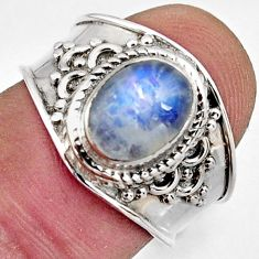 925 silver 3.43cts natural rainbow moonstone oval solitaire ring size 7.5 r4493
