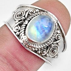 3.50cts natural rainbow moonstone 925 silver solitaire ring jewelry size 8 r4496
