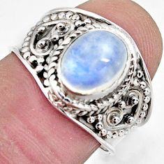 3.01cts natural rainbow moonstone 925 silver solitaire ring size 7.5 r4497