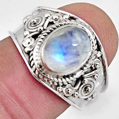 3.10cts natural rainbow moonstone 925 silver solitaire ring size 7.5 r4505
