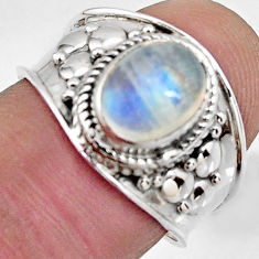 3.12cts natural rainbow moonstone 925 silver solitaire ring size 7.5 r4506