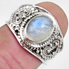 3.13cts natural rainbow moonstone 925 silver solitaire ring jewelry size 7 r4509