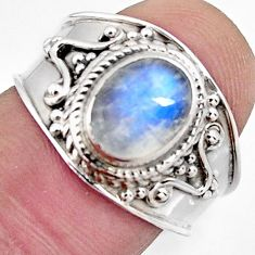 3.12cts natural rainbow moonstone 925 silver solitaire ring size 7.5 r4511