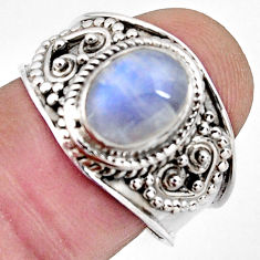 3.02cts natural rainbow moonstone 925 silver solitaire ring jewelry size 8 r4513