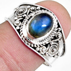 2.09cts natural blue labradorite 925 silver solitaire ring size 8.5 r4529