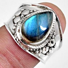 4.51cts natural blue labradorite 925 silver solitaire ring size 7.5 r4530