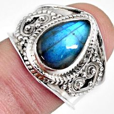 4.52cts natural blue labradorite 925 silver solitaire ring jewelry size 8 r4531