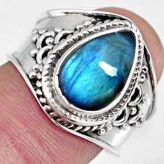 4.74cts natural blue labradorite 925 silver solitaire ring size 7.5 r4542