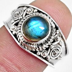 925 silver 2.17cts natural blue labradorite solitaire ring jewelry size 7 r4550