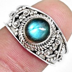 2.08cts natural blue labradorite 925 silver solitaire ring size 7.5 r4551