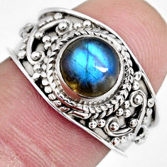 2.19cts natural blue labradorite 925 silver solitaire ring size 7.5 r4552