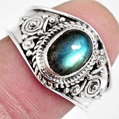 2.19cts natural blue labradorite 925 silver solitaire ring jewelry size 8 r4553