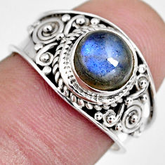 2.29cts natural blue labradorite 925 silver solitaire ring jewelry size 7 r4558