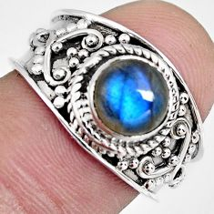 925 silver 2.53cts natural blue labradorite round solitaire ring size 7.5 r4559