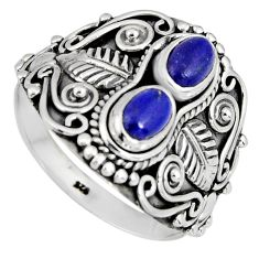 2.10cts natural blue lapis lazuli 925 sterling silver ring jewelry size 8 r4561