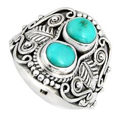 2.74cts natural green campitos turquoise 925 sterling silver ring size 7 r4566