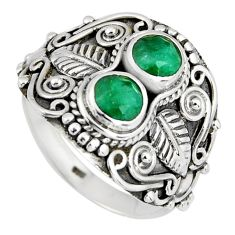 1.91cts natural green emerald 925 sterling silver ring jewelry size 8.5 r4571
