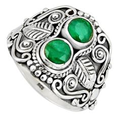 925 sterling silver 1.84cts natural green emerald ring jewelry size 7.5 r4573