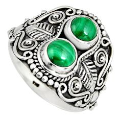 2.35cts natural green malachite (pilot's stone) 925 silver ring size 8.5 r4577