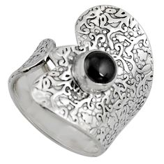 1.31cts natural black onyx 925 sterling silver adjustable ring size 8 r4583