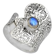 1.40cts natural rainbow moonstone 925 silver adjustable ring size 7.5 r4596