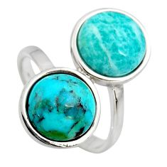 10.43cts natural green amazonite (hope stone) round silver ring size 7 r5508