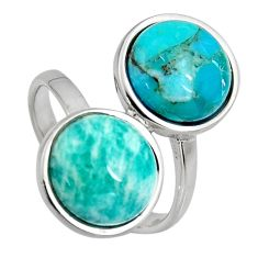 925 silver 9.61cts natural green amazonite (hope stone) round ring size 6 r5509