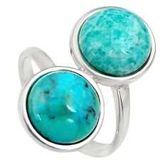 9.53cts natural green amazonite (hope stone) 925 silver ring size 6 r5510