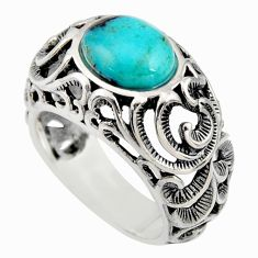 4.01cts natural blue kingman turquoise 925 silver solitaire ring size 7 r5528