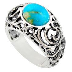 4.13cts natural blue kingman turquoise 925 silver solitaire ring size 8.5 r5530
