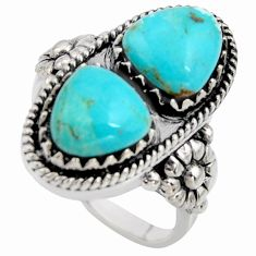 925 sterling silver 6.08cts natural blue kingman turquoise ring size 9 r5533