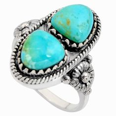 6.05cts natural blue kingman turquoise 925 sterling silver ring size 10 r5538