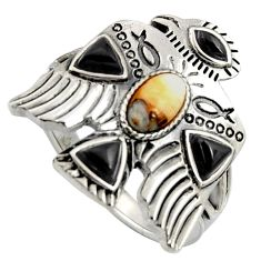 Egyptian god wings spiny oyster arizona turquoise 925 silver ring size 10 r5554