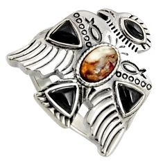 925 silver egyptian god wings spiny oyster arizona turquoise ring size 8 r5555