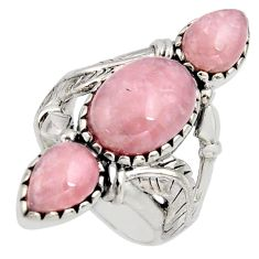 925 sterling silver 12.01cts natural strawberry quartz ring size 8.5 r5596