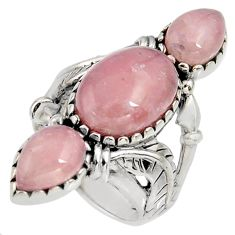 925 sterling silver 11.37cts natural strawberry quartz ring size 7 r5598