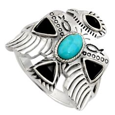Egyptian god wings blue kingman turquoise black onyx silver ring size 10 r5619