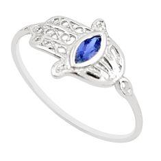 925 silver 0.46cts natural blue iolite hand of god hamsa ring size 7.5 r5704