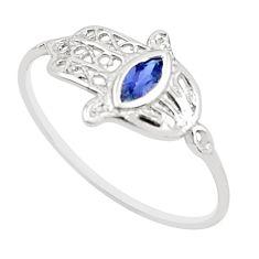 0.36cts natural blue iolite 925 silver hand of god hamsa ring size 7.5 r5706