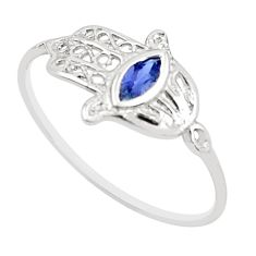 0.40cts natural blue iolite 925 silver hand of god hamsa ring size 7.5 r5711