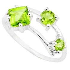 2.60cts natural green peridot 925 sterling silver ring jewelry size 7.5 r5740