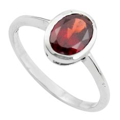 2.23cts natural red garnet 925 sterling silver solitaire ring size 8.5 r5752