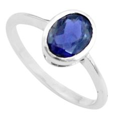 925 sterling silver 2.08cts natural blue iolite solitaire ring size 6.5 r5758