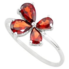 925 sterling silver 2.64cts natural red garnet pear ring jewelry size 7.5 r5858