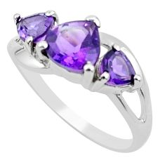925 sterling silver 3.98cts natural purple amethyst ring jewelry size 9 r5863